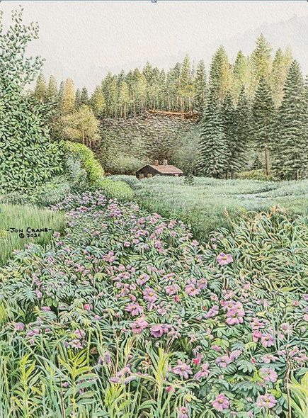 """Jon Crane Artist Signed and Numbered Limited Edition Giclee on Paper:""""Trail of Roses"""""""