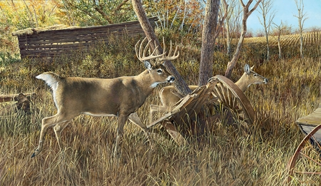 """Ron Van Gilder Hand Signed and Numbered Limited Edition Print: """"Old Homestead Buck"""""""