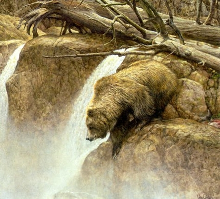 """Ron Van Gilder Handsigned and Numbered Limited Edition:""""Going Fishin' - Grizzly Bear"""""""