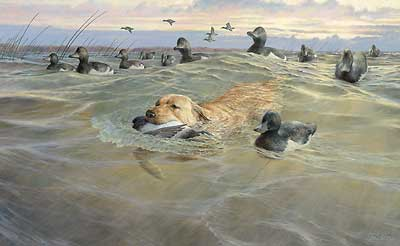 """Ron Van Gilder Handsigned and Numbered Limited Edition Print: """"His Time to Shine-Yellow Lab"""""""
