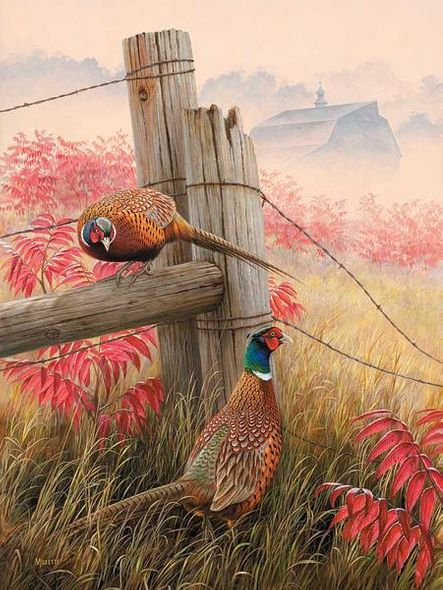 """Rosemary Millette Handsigned and Numbered Limited Edition Print:""""Lifting Fog – Pheasants"""""""