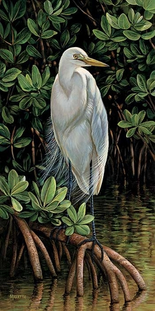 """Rosemary Millette Handsigned & Numbered Limited Edition Print:""""Gulf Breezes-Great Egret"""""""