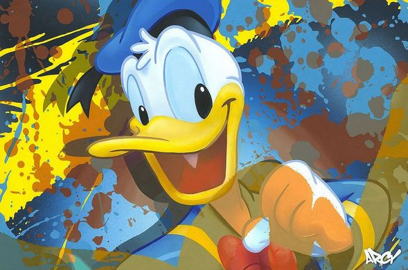 "Ryan 'Arcy' Christenson Signed Limited Edition Hand-Textured Canvas Giclee:""Donald Duck"""