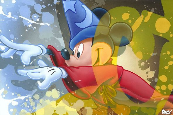 "Ryan 'Arcy' Christenson Signed Limited Edition Hand-Textured Canvas Giclee:""Mickey Sorcerer"""