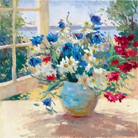 """S. Burkett Kaiser Limited Edition Iris Graphic on canvas: """" Daisies and Pansies """""""