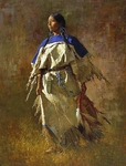 """Howard Terpning 90th Birthday Series Limited Edition Canvas Giclee:""""Shield of Her Husband"""""""