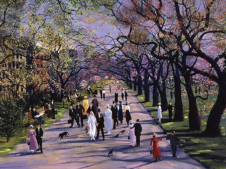 "Sally Caldwell Fisher Handsigned & Numbered Limited Edition Print:""Spring in the Public Garden"""