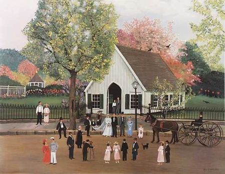 "Sally Caldwell Fisher Limited Edition Print:""Spring Wedding - Mystic Seaport"""