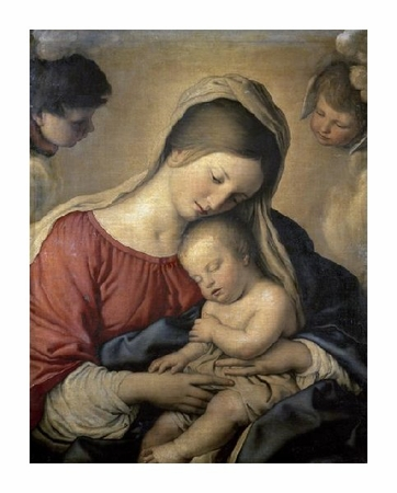 "Sassoferrato Fine Art Open Edition Giclée:""Madonna with the Infant Jesus Sleeping"""