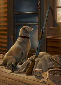 """Scot Storm Handsigned Open Edition:""""Opening Day-Yellow Lab"""""""