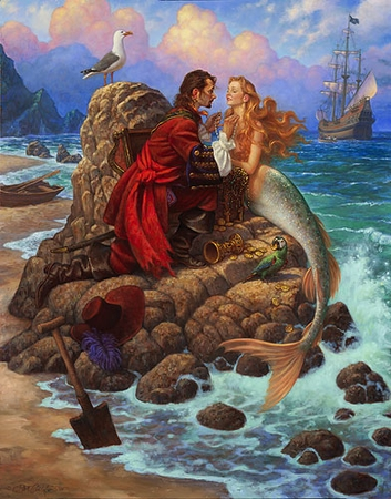 "Scott Gustafson Handsigned and Numbered Limited Edition Print:""The Pirate and the Mermaid"""