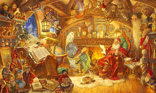 """Scott Gustafson Limited Edition Canvas:""""Collector Set St. Nicolas In His Study W/Figurines"""""""