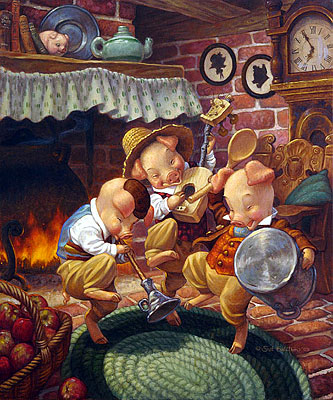 """Scott Gustafson Limited Edition Classic Fairy Tales Print w/ book: """"Three Little Pigs - Collector Set"""""""