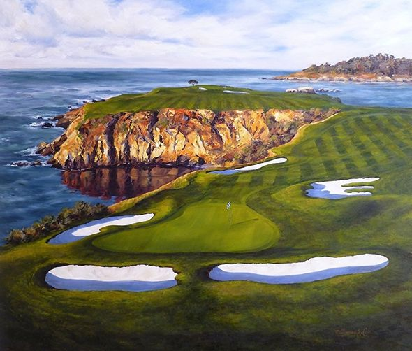 "Shelley Cost Hand Signed and Numbered Limited Edition Embellished Canvas Giclee:""Courageous Approach (The 8th Hole At Pebble Beach Golf Links)"""