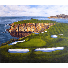 """Shelley Cost Hand Signed and Numbered Limited Edition Embellished Canvas Giclee:""""Courageous Approach (The 8th Hole At Pebble Beach Golf Links)"""""""