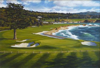 "Shelley Cost Hand Signed and Numbered Limited Edition Embellished Canvas Giclee:""Perfect Day (The 18th Hole At Pebble Beach Golf Links)"""
