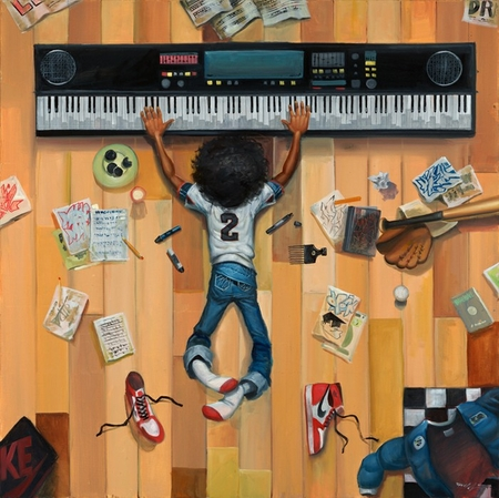 """Frank Morrison Hand Signed and Numbered Limited Edition Canvas Giclee:""""Little Hip Hop"""""""