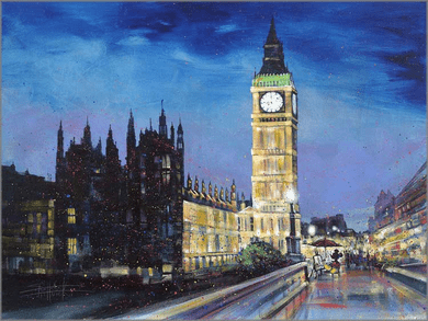 "Stephen Fishwick Artist Signed and Numbered Hand Embellished Limited Edition Giclee on Canvas:""Painting the Town"""