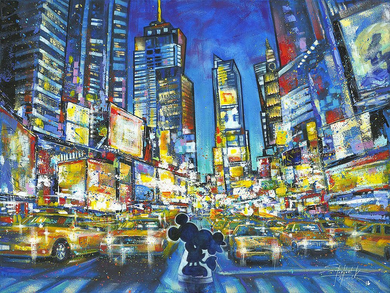 "Stephen Fishwick Signed and Numbered Hand Embellished Giclée on Canvas:""You, Me and the City - Mickey Mouse"""