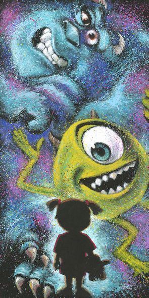 """Stephen Fishwick Signed and Numbered Hand-Textured Canvas Giclée: """"Closet Full of Monsters"""""""