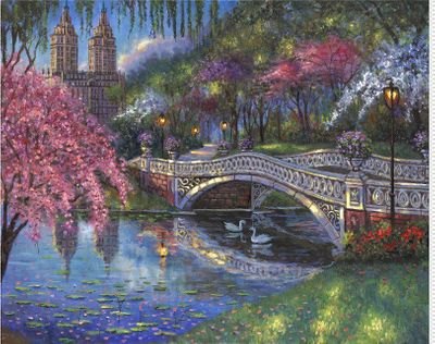 """Robert Finale Artist Signed Limited Edition Hand-Embellished Giclee on Canvas:""""Bow Bridge Blossoms, Central Park"""""""