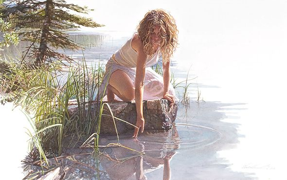 """Steve Hanks Hand Numbered Limited Edition Canvas Giclee:""""Touched by Beauty"""""""