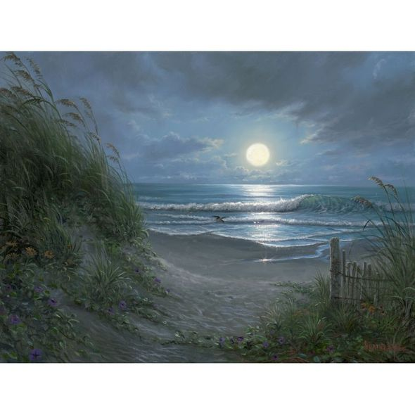 """Mark Keathley Artist Hand Signed Limited Edition Embellished Canvas Giclee:""""Quiet Time"""""""