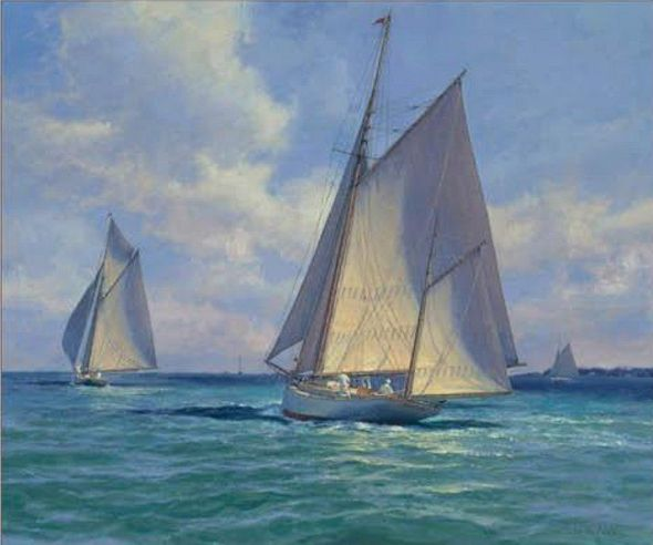 """Don Demers Artist Signed Limited Edition Canvas Giclee:""""Yawl Flaneur"""""""