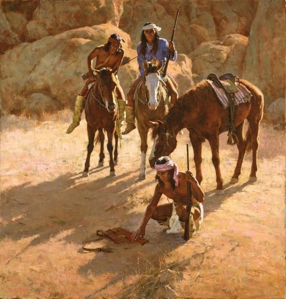 """Howard Terpning Artist Signed Limited Edition Canvas Giclee:""""The Missing Dispatch Case"""""""