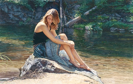 "Steve Hanks Handsigned and Numbered Limited Edition Giclee on Paper :""Listening to the River"""