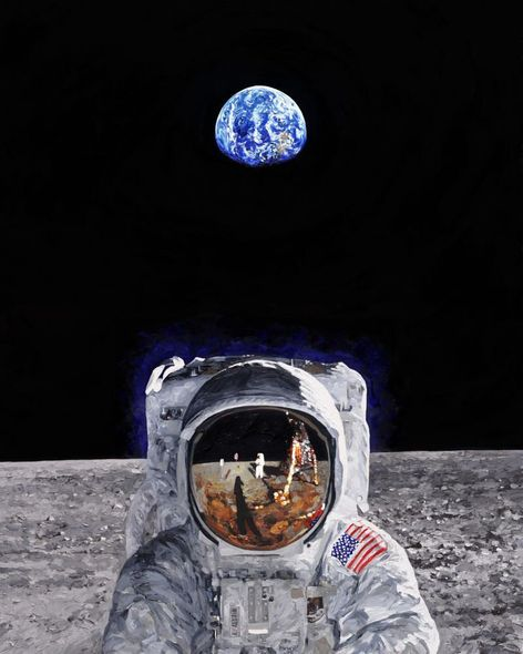 "Chris Calle Artist Hand Signed Limited Edition Canvas Giclee :""Reflections 1969 - Buzz Aldrin & Neil Armstrong"""