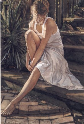 "Steve Hanks Handsigned & Numbered Limited Edition Canvas Giclee:""Thinking  it Over"""