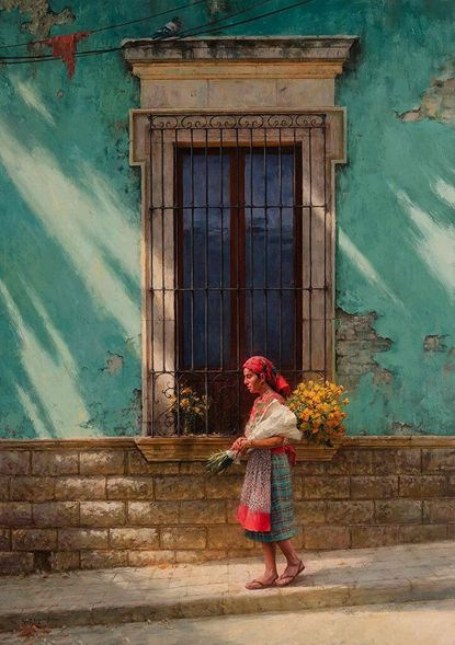 """Scott Tallman Powers Limited Edition Canvas Giclee:""""Mornings with Marigolds"""""""