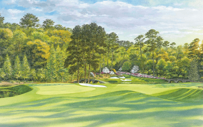 "Steve Lotus Official Masters Tournament Limited Edition Golf Art:""White Dogwood - Hole 11"""