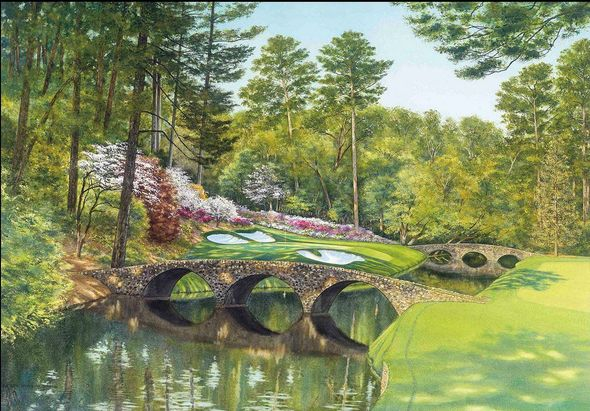 """Steve Lotus Official Masters Tournament Limited Edition Golf Art:""""Golden Bell -Hole 12"""""""