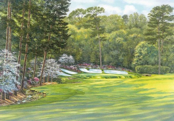 "Steve Lotus Official Masters Tournament Limited Edition Golf Art:""Azalea -Hole 13"""