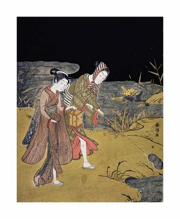 "Suzuki Harunobu Fine Art Open Edition Giclée:""A Young Couple Catching Fireflies at Night on the Banks of a River"""