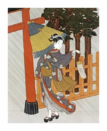 "Suzuki Harunobu Fine Art Open Edition Giclée:""Geisha Visiting a Shrine"""