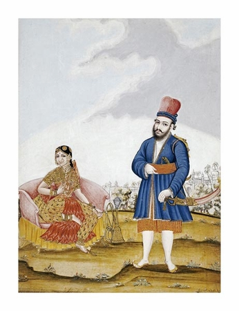"""Tanjore School Fine Art Open Edition Giclée:""""A Moghul Nobleman with His Wife"""""""