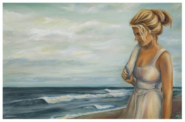 "Tanya Jean Peterson Handsigned and Numberd Giclee on Canvas:""Artist's Walk"""