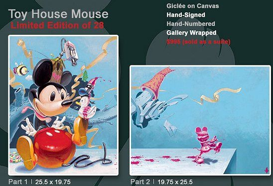 "Tenga Hand Signed and Numbered Limited Edition Disney Gallery Wrap Canvas Giclee:""Toy House 1 & 2 """