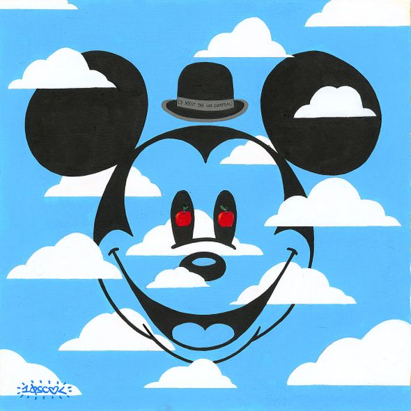 """Tennessee Loveless Signed and Numbered Limited Edition Giclée on Canvas:""""Mickey Mouse - Ce N'est Pas Un Chapeau"""""""