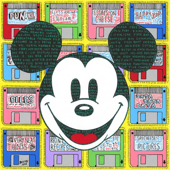 """Tennessee Loveless Signed and Numbered Limited Edition Giclée on Canvas:""""Mickey Mouse - Data World Exe"""""""