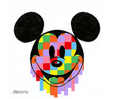 """Tennessee Loveless Signed and Numbered Limited Edition Giclée on Canvas:""""Mickey Pixel Drip"""""""