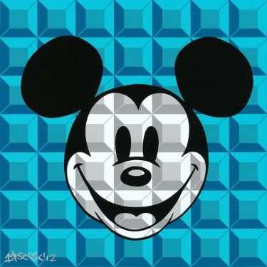 "Tennessee Loveless Signed and Numbered Serigraph on Canvas: ""8-Bit Block Mickey (Aqua)"""