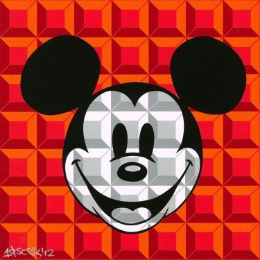 """Tennessee Loveless Signed and Numbered Serigraph on Canvas: """"8-Bit Block Mickey (Red)"""""""