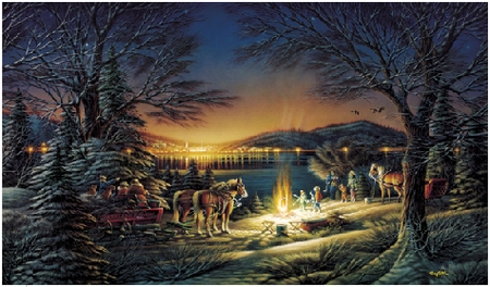 """Terry Redlin 13th Anniversary Handsigned & Numbered Limited Edition Christmas Print:""""Heartland Lights"""""""