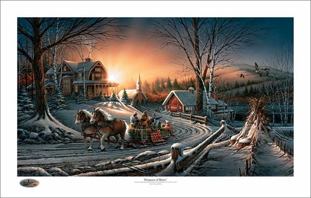 """Terry Redlin Holiday Limited Edition Christmas Print:""""The Pleasures of Winter"""""""