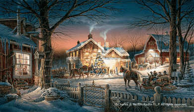 "Terry Redlin 2017 Holiday Edition Print:""Trimming the Tree"""