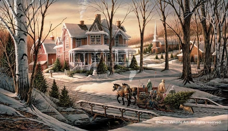 "Terry Redlin Annual Limited Edition Christmas Print - 2008 Print: ""Homeward Bound"""